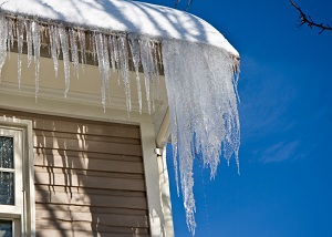 Ice damming on a NY home's roof and gutters